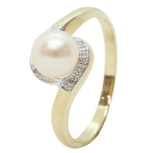 9ct Yellow Gold Fancy Pearl With Diamond Halo Engagement Dress Ring