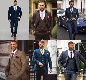 Men's Cavani Tweed 3 Piece Suit Check Vintage Smart Formal Slim Fit Wool Blend