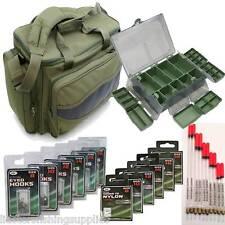 Green Carp Fishing Bag NGT + Tackle Box + 10 Floats 120 Hooks 60 hooks 2 Nylon