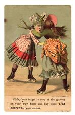 1800's ROLLER SKATING GIRLS*LION COFFEE*CLAY & RICHMOND*VICTORIAN TRADE CARD