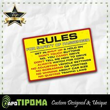 RULES SAFETY sticker decal funny car truck jeep 4X4 offroad 4wd dirt JDM race VW