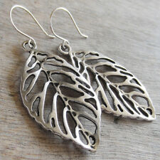 BIG LEAF HOOK EARRINGS SILVER PLATED - NATURE TREE THEME