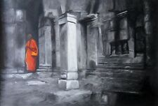 Buddhist Monk 30x20 oil painting Holy Buddha NOT print or poster Framing Avail.