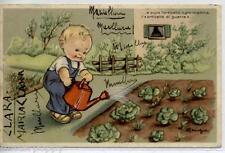 MARIAPIA Bambino innaffia Orto Insalata Versi WWII PC Viaggiata 1943