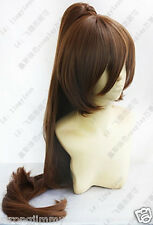 Beautiful New long Brown clip ponytail Cosplay wig +gift k6
