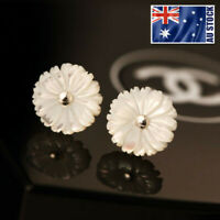 925 Sterling Silver White Mother of Pearl Chrysanthemum Flower Stud Earrings