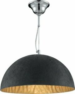 House Additions Anishi 1 Light Ceiling Bowl Pendant Light, Black Gold 38cm Dia