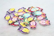 """Lot of 10 OWL 2-hole 1-1/4"""" x 3/4"""" (32mm) Wood Buttons Scrapbook Craft (2551)"""