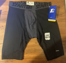 Starter Mens Compression Long Length Boxer Briefs Medium Black NWT