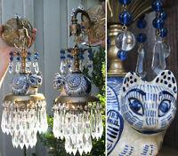 PAIR Fortune Teller CAT crystal ball Porcelain Sconces Brass vintage lamp prisms