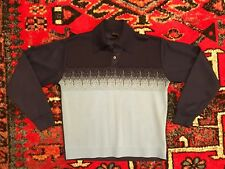 Studio One Vintage 1970's 80's Navy Blue Polyester Collared Long Sleeve Shirt