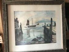 Vintage Original Water Color By Peggy Tapman,Sailboat At Anchor