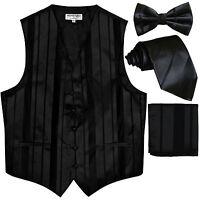 New Men's stripes Tuxedo Vest Waistcoat & necktie & Bow tie & Hankie Black party