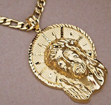 Men Jumbo XXL Yellow Gold Plated Christ Head Charm & 30in Long Figaro Chain Set