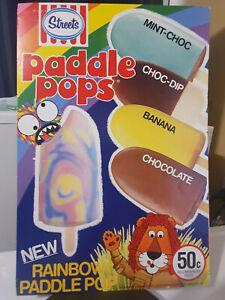 Vintage Streets Cardboard Paddle Pop Ice cream Advertising card 1980s