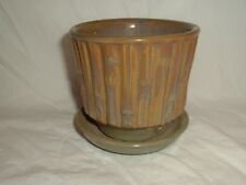 """Vintage McCoy USA Pottery 4"""" Tall 0372 Brown Green Grey Bamboo Pattern Planter"""
