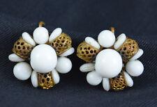 Vintage Earrings White Milk Glass Beads Filigree Cluster Screw Back Jewelry