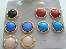 4 pairs assorted gemstones half round 15mm dome earrings Rose Quartz, Howlite...