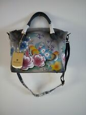 "Anuschka Bag Leather Hand Painted ""Vintage Garden"" Convertable Satchel Handbag"