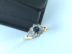 Sapphire & Diamond 0.25ct Cluster 9ct Yellow Gold - Dress Ring 9K Pretty Flower