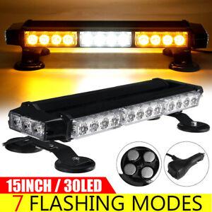 30LED Emergency Traffic Advisor Double Side Warning Strobe Light Bar Amber/White