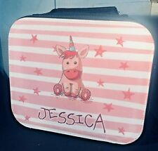 Personalised Girls Insulated Lunch Bag. UNICORN School Box with any name printed