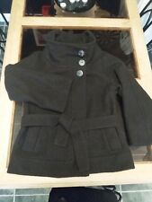 Crafted 70% Wool Funnel Neck Wrap And Tie Coat Dark Brown Size 12