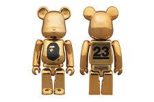 A Bathing Ape x Nowhere Medicom Bearbrick 23rd Anniversary 100% GOLD KAWS NIB B