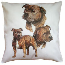 Staffordshire Bull Terrier Brindle Group Dog Cotton Cushion Cover - Perfect Gift
