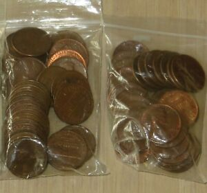 2-34 each bag Memorial Copper pennies (M68-2} Mix All copper 1959-1982
