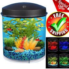 Aquarium Kit Led Lighting Internal Filter 2 Gallon Home Office Desk Betta Tank