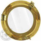 """Solid Brass 10"""" Glass Porthole Shiny Finish Boat Window Nautical Ship Decor"""