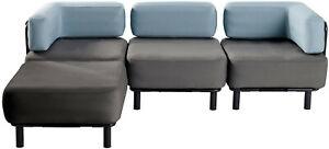 Lounge - Garnitur 3 Sitzer mit Hocker - Sofa, Couch, Sessel, Outdoor, Garten