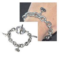 Gros bracelet à breloques en plaqué argent maille jaseron 21cm bijou