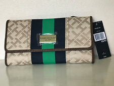NEW TOMMY HILFIGER BROWN BLUE GREEN CONTINENTAL CHECKBOOK CLUTCH WALLET $39 SALE