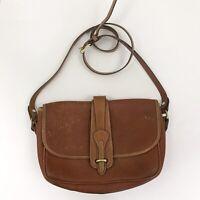Vintage Dooney Bourke Equestrian Shoulder Bag Crossbody Tan Brown Leather