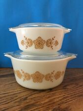 Pyrex USA 2 Butterfly Gold Casseroles 473-B and 472-B with Covers Euc