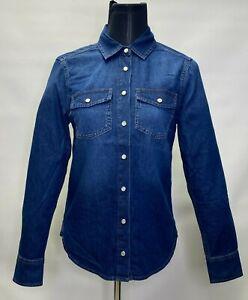 Marks and Spencer Per Una Women Denim Cotton Popper Detail Long Sleeve Shirt
