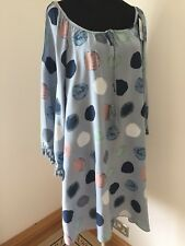 Kaftan Tunic Blue Spotted Tassles Gypsy Neckline Cool Floaty Long Plus Size New