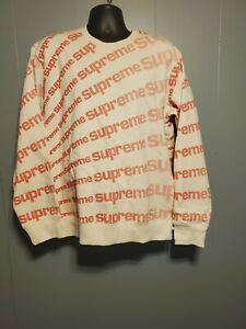 Supreme Street style Sweater color cream and red. Size Large