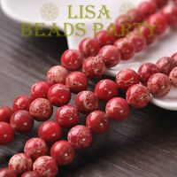100pcs 4mm Round Natural Stone Loose Gemstone Beads Red Imperial Jasper