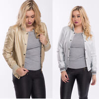 Ladies Womens Varisty College Fashion  Casual Baseball Jacket Coat Size S M L XL