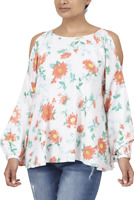 Seven7 Tunic Long Sleeve Cold Shoulder White Peach Floral Top NWT$69