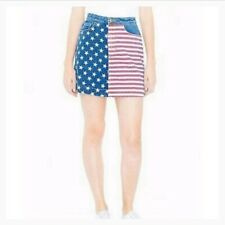 American Apparel US Flag Denim A-Line Skirt USA Women S