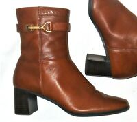 Etienne Aigner Ankle Boots 8 M Leather Brown Heels Horsebit Zip Womens