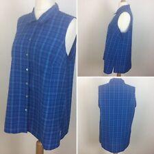 Evans Essence Ladies Blue Check Sleeveless Button Down Shirt / Blouse Uk 22