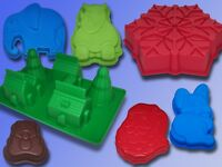 3D Silikon Backform Teddy Nikolaus Elefant Nashorn Dorf Haus Pudding Kuchen Form