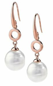 Authentic JOIA De Majorca White Circular Pearl Hook Earrings With Round Link