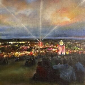 Glastonbury Festival Inspired Oil Painting By Clare Hitchcock-original Art