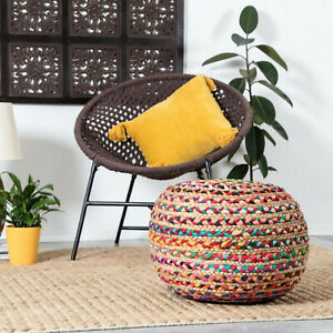 Pouf Cover Ottoman Cotton Jute Pillow Round Home Handmade Jute Pouf Cover Only